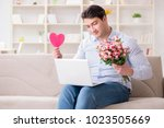 young man making marriage... | Shutterstock . vector #1023505669