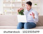 young man making marriage... | Shutterstock . vector #1023505699