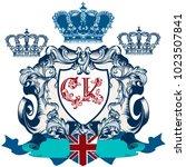 heraldic elegant shield or... | Shutterstock .eps vector #1023507841