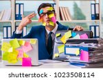 businessman with reminder notes ... | Shutterstock . vector #1023508114