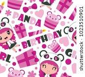 seamless pattern of cute panda... | Shutterstock .eps vector #1023510901