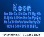 font neon blue symbol  light... | Shutterstock .eps vector #1023511825