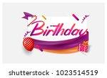 happy birthday typography... | Shutterstock .eps vector #1023514519