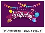 happy birthday typography... | Shutterstock .eps vector #1023514675