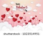 paper art of illustration love... | Shutterstock .eps vector #1023514951