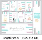 blue pink pastel greeting card... | Shutterstock .eps vector #1023515131