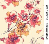 vector floral seamless pattern... | Shutterstock .eps vector #102352135