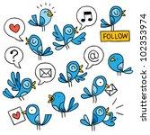 blue birds set | Shutterstock .eps vector #102353974