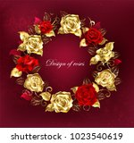 round wreath of red and gold...   Shutterstock .eps vector #1023540619