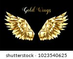 gold  faceted  polygonal wings... | Shutterstock .eps vector #1023540625