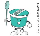 vector of yogurt cartoon | Shutterstock .eps vector #1023548524