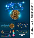 infographics bitcoin digital... | Shutterstock .eps vector #1023549031