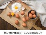 steamed egg on wooden board   Shutterstock . vector #1023550807