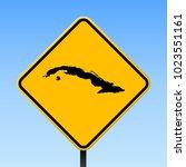 Cuba Map Road Sign. Square...