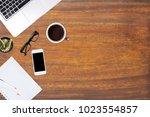 modern office desk wooden table ... | Shutterstock . vector #1023554857
