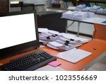 mock up white screen computer...   Shutterstock . vector #1023556669