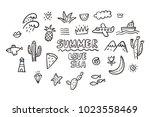 cool summer doodle | Shutterstock .eps vector #1023558469
