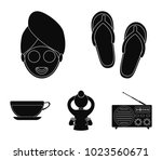slippers for the spa salon  a... | Shutterstock .eps vector #1023560671