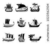 viking ship boat drakkar icons... | Shutterstock .eps vector #1023562504