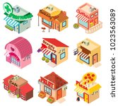 store facade front shop icons... | Shutterstock .eps vector #1023563089