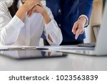 start up partners are working... | Shutterstock . vector #1023563839
