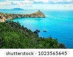 beautiful summer sea landscape...   Shutterstock . vector #1023565645