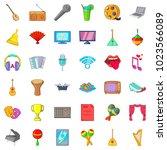 philharmonic icons set. cartoon ... | Shutterstock .eps vector #1023566089