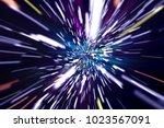 stars blurred by warp speed... | Shutterstock . vector #1023567091