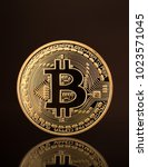 a new shiny coin bitcoin with...   Shutterstock . vector #1023571045