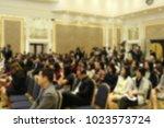 blurred of seminar  background | Shutterstock . vector #1023573724