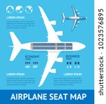 airplane plan seat map card... | Shutterstock .eps vector #1023576895
