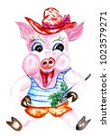 cute cartoon pig illustration... | Shutterstock . vector #1023579271