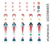 schoolgirl faceless model with... | Shutterstock .eps vector #1023580855