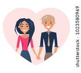 couple in love smiling  poster... | Shutterstock .eps vector #1023580969