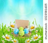 easter card. painted easter...   Shutterstock . vector #1023581605