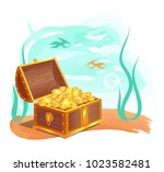 gold treasure in wooden chest... | Shutterstock .eps vector #1023582481