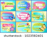 set of labels spring discounts... | Shutterstock .eps vector #1023582601