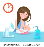breastfeeding mother and child  ... | Shutterstock .eps vector #1023582724