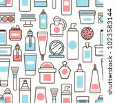 plastic bottles and jars with... | Shutterstock .eps vector #1023583144