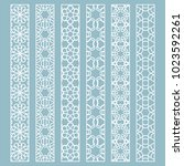 vector set of line borders with ... | Shutterstock .eps vector #1023592261