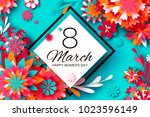 colorful paper cut flower. 8... | Shutterstock .eps vector #1023596149