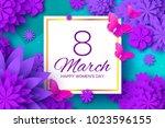 ultra violet paper cut flower....   Shutterstock .eps vector #1023596155