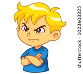 angry boy expression | Shutterstock .eps vector #1023603325