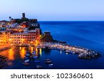 Vernazza Castle And Harbor At...