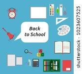 back to school  many stationery ... | Shutterstock . vector #1023607525