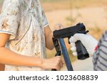 robbers are pulling a shopping... | Shutterstock . vector #1023608839