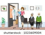 cartoon open door to the doctor'... | Shutterstock .eps vector #1023609004
