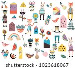 set of cute scandinavian style... | Shutterstock .eps vector #1023618067