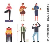 people who enjoy various... | Shutterstock .eps vector #1023618559