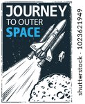 vintage poster with shuttle on... | Shutterstock .eps vector #1023621949